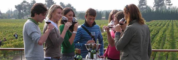 Degustación de vinos en la terraza del Château Paloumey